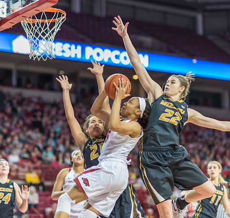 Arkansas Lady Razorbacks guard Kelsey Brooks (15) with a layup during a basketball game between Arkansas Razorbacks and Missouri Tigers  on January 17, 2016.    (Alan Jamison, Nate Allen Sports Service)