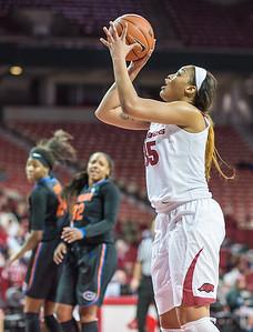 Arkansas Lady Razorbacks center Alecia Cooley (35) shoots during a basketball game between Arkansas Razorbacks and Florida Gators  on January 28, 2016.    (Alan Jamison, Nate Allen Sports Service)