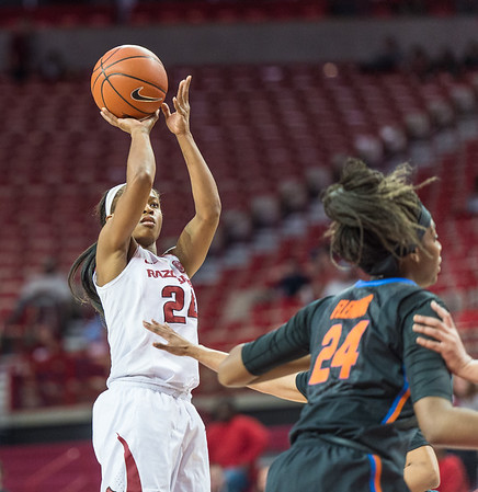 Arkansas Lady Razorbacks guard Jordan Danberry (24) shoots during a basketball game between Arkansas Razorbacks and Florida Gators  on January 28, 2016.    (Alan Jamison, Nate Allen Sports Service)