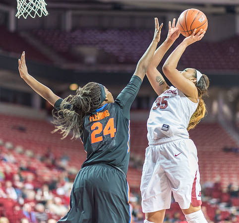 Arkansas Lady Razorbacks center Alecia Cooley (35) shoots during a basketball game between Arkansas Razorbacks and Florida Gators  on January 28, 2016.    (Alan Jamison, Nate Allen Sports Service)
