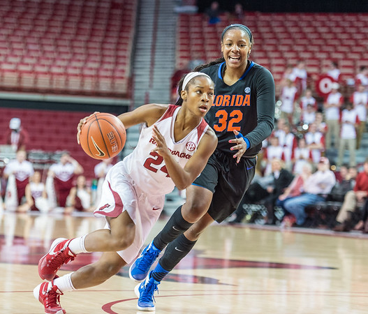 Arkansas Lady Razorbacks guard Jordan Danberry (24) drives during a basketball game between Arkansas Razorbacks and Florida Gators  on January 28, 2016.    (Alan Jamison, Nate Allen Sports Service)