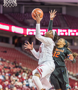 Arkansas Lady Razorbacks forward Jessica Jackson (00) goes inside for two during a basketball game between Arkansas Razorbacks and Florida Gators  on January 28, 2016.    (Alan Jamison, Nate Allen Sports Service)