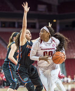 Arkansas Lady Razorbacks forward Jessica Jackson (00) drives during a basketball game between Arkansas Razorbacks and Florida Gators  on January 28, 2016.    (Alan Jamison, Nate Allen Sports Service)