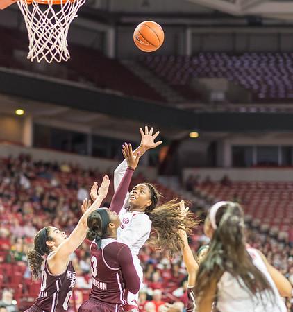 Arkansas Lady Razorbacks forward Jessica Jackson (00) shoots during a basketball game between Arkansas Lady Razorbacks and Mississippi State Lady Bulldogs  on January 31, 2016.    (Alan Jamison, Nate Allen Sports Service)
