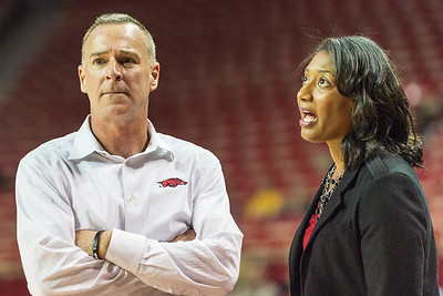 Arkansas Lady Razorbacks head coach Jimmy Dykes watches the action during a basketball game between Arkansas Lady Razorbacks and Mississippi State Lady Bulldogs  on January 31, 2016.    (Alan Jamison, Nate Allen Sports Service)