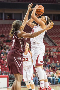 Arkansas Lady Razorbacks center Alecia Cooley (35) shoots during a basketball game between Arkansas Lady Razorbacks and Mississippi State Lady Bulldogs  on January 31, 2016.    (Alan Jamison, Nate Allen Sports Service)