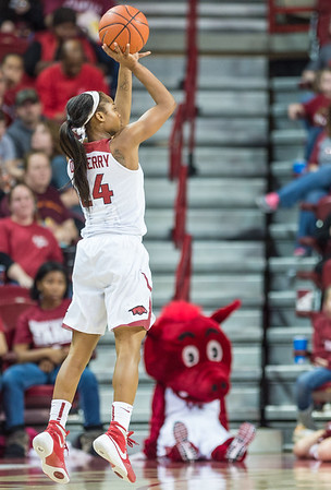 Arkansas Lady Razorbacks guard Jordan Danberry (24) shoots during a basketball game between Arkansas Lady Razorbacks and Mississippi State Lady Bulldogs  on January 31, 2016.    (Alan Jamison, Nate Allen Sports Service)