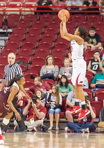 Arkansas Lady Razorbacks guard Devin Cosper (21) shoots during a basketball game between Arkansas Lady Razorbacks and Mississippi State Lady Bulldogs  on January 31, 2016.    (Alan Jamison, Nate Allen Sports Service)