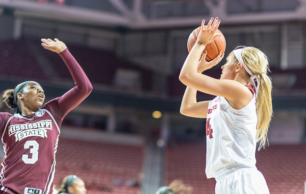 Arkansas Lady Razorbacks guard/forward Keiryn Swenson (4) shoots during a basketball game between Arkansas Lady Razorbacks and Mississippi State Lady Bulldogs  on January 31, 2016.    (Alan Jamison, Nate Allen Sports Service)