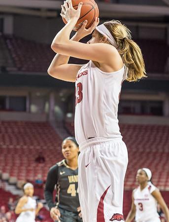 Arkansas Lady Razorbacks forward Melissa Wolff (33) shoots during a basketball game between Arkansas Razorbacks and Vanderbilt Commodores on February 8, 2016.    (Alan Jamison, Nate Allen Sports Service)