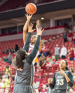 Arkansas Lady Razorbacks guard Jordan Danberry (24) shoots over Vanderbilt Commodores forward Marqu'es Webb (22) during a basketball game between Arkansas Razorbacks and Vanderbilt Commodores on February 8, 2016.    (Alan Jamison, Nate Allen Sports Service)