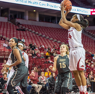 Arkansas Lady Razorbacks guard Jordan Danberry (24) shoots during a basketball game between Arkansas Razorbacks and Vanderbilt Commodores on February 8, 2016.    (Alan Jamison, Nate Allen Sports Service)