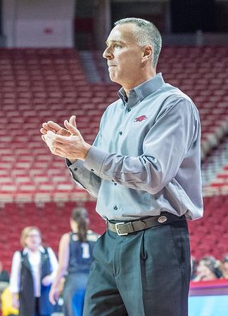 Arkansas Lady Razorbacks head coach Jimmy Dykes during a basketball game between Arkansas Razorbacks and Vanderbilt Commodores on February 8, 2016.    (Alan Jamison, Nate Allen Sports Service)