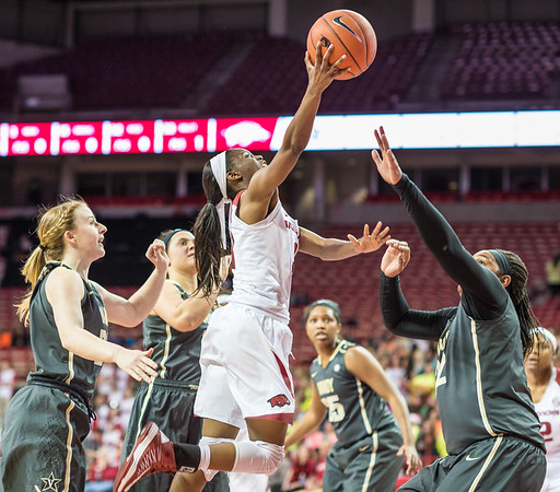 Arkansas Lady Razorbacks guard Malica Monk (3) shoots a layup during a basketball game between Arkansas Razorbacks and Vanderbilt Commodores on February 8, 2016.    (Alan Jamison, Nate Allen Sports Service)