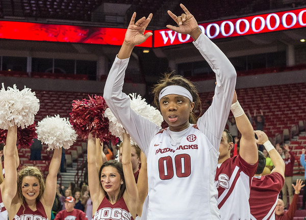 Arkansas Lady Razorbacks forward Jessica Jackson (00) celebrates the win after the basketball game between Arkansas Razorbacks and Vanderbilt Commodores on February 8, 2016.    (Alan Jamison, Nate Allen Sports Service)