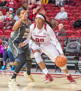 Arkansas Lady Razorbacks forward Jessica Jackson (00) drives to the basket during a basketball game between Arkansas Razorbacks and Vanderbilt Commodores on February 8, 2016.    (Alan Jamison, Nate Allen Sports Service)