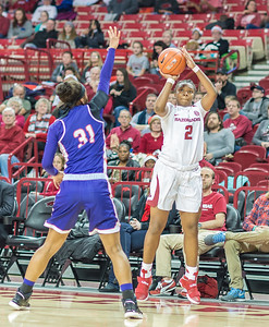 Arkansas Lady Razorbacks guard/forward Aaliyah Wilson (2) shoots during a basketball game between Arkansas and Northwestern State on Sunday, December 18, 2016.  (Alan Jamison, Nate Allen Sports Service)