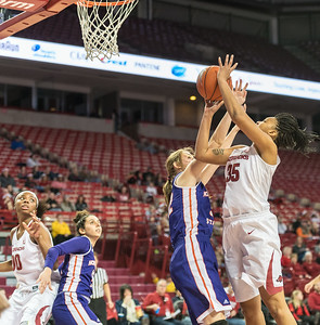 Arkansas Lady Razorbacks center Alecia Cooley (35) goes up for two during a basketball game between Arkansas and Northwestern State on Sunday, December 18, 2016.  (Alan Jamison, Nate Allen Sports Service)