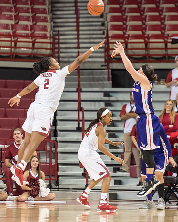 Arkansas Lady Razorbacks guard/forward Aaliyah Wilson (2) defends during a basketball game between Arkansas and Northwestern State on Sunday, December 18, 2016.  (Alan Jamison, Nate Allen Sports Service)
