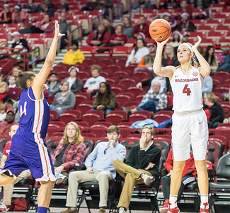 Arkansas Lady Razorbacks guard/forward Keiryn Swenson (4) shoots during a basketball game between Arkansas and Northwestern State on Sunday, December 18, 2016.  (Alan Jamison, Nate Allen Sports Service)