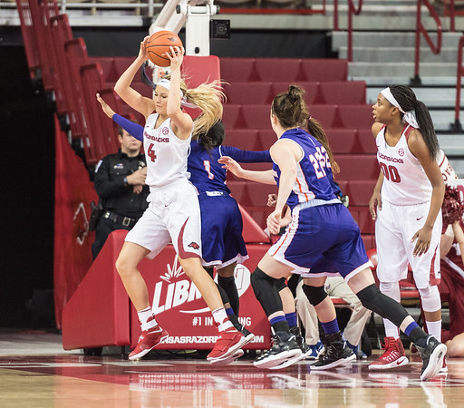 Arkansas Lady Razorbacks guard/forward Keiryn Swenson (4) brings down a rebound during a basketball game between Arkansas and Northwestern State on Sunday, December 18, 2016.  (Alan Jamison, Nate Allen Sports Service)