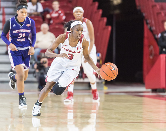 Arkansas Lady Razorbacks guard Malica Monk (3) on a fast break during a basketball game between Arkansas and Northwestern State on Sunday, December 18, 2016.  (Alan Jamison, Nate Allen Sports Service)