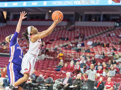 Arkansas Lady Razorbacks guard Malica Monk (3) goes up for two during a basketball game between Arkansas and Northwestern State on Sunday, December 18, 2016.  (Alan Jamison, Nate Allen Sports Service)