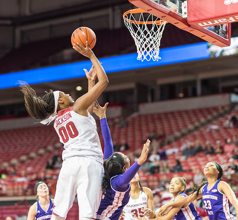 Arkansas Lady Razorbacks forward Jessica Jackson (00) shoots during a basketball game between Arkansas and Northwestern State on Sunday, December 18, 2016.  (Alan Jamison, Nate Allen Sports Service)