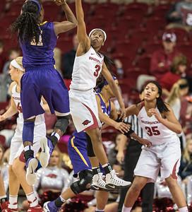 Arkansas Lady Razorbacks guard Malica Monk (3) defends during a basketball game between Arkansas and LSU on Sunday, January 08, 2017.  (Alan Jamison, Nate Allen Sports Service)