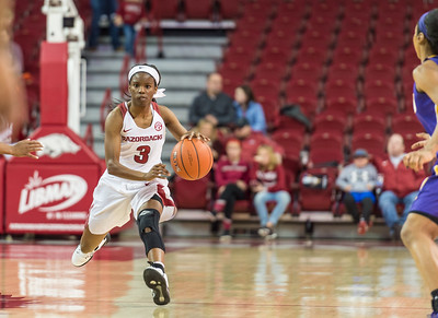 Arkansas Lady Razorbacks guard Malica Monk (3) at point during a basketball game between Arkansas and LSU on Sunday, January 08, 2017.  (Alan Jamison, Nate Allen Sports Service)