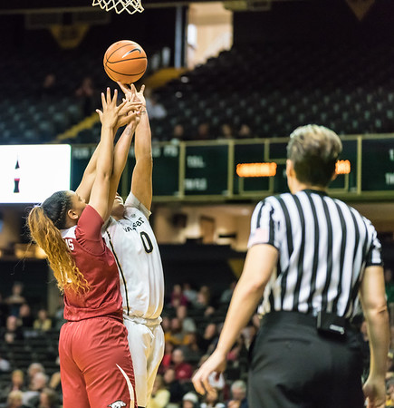 Arkansas Lady Razorbacks forward/center Kiara Williams (10) defends against Vanderbilt Commodores forward Kayla Overbeck (0) during a game between the Arkansas Lady Razorbacks and the Vanderbilt Commodores on Sunday, 25 Feb 18, in Nashville TN.  (Alan Jamison, Nate Allen Sports Service)