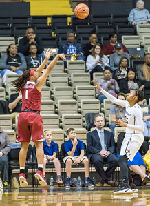 Arkansas Lady Razorbacks guard Raven Northcross-Baker (1) shoots during a game between the Arkansas Lady Razorbacks and the Vanderbilt Commodores on Sunday, 25 Feb 18, in Nashville TN.  (Alan Jamison, Nate Allen Sports Service)