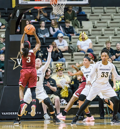 Arkansas Lady Razorbacks guard Malica Monk (3) drives  during a game between the Arkansas Lady Razorbacks and the Vanderbilt Commodores on Sunday, 25 Feb 18, in Nashville TN.  (Alan Jamison, Nate Allen Sports Service)