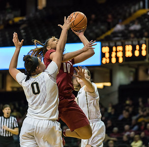 Arkansas Lady Razorbacks forward/center Kiara Williams (10) drives over Vanderbilt Commodores forward Kayla Overbeck (0) during a game between the Arkansas Lady Razorbacks and the Vanderbilt Commodores on Sunday, 25 Feb 18, in Nashville TN.  (Alan Jamison, Nate Allen Sports Service)