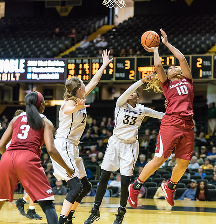 Arkansas Lady Razorbacks forward/center Kiara Williams (10) shoots during a game between the Arkansas Lady Razorbacks and the Vanderbilt Commodores on Sunday, 25 Feb 18, in Nashville TN.  (Alan Jamison, Nate Allen Sports Service)