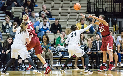 Arkansas Lady Razorbacks guard/forward Bailey Zimmerman (22)j passes to Arkansas Lady Razorbacks guard/forward Keiryn Swenson (4) during a game between the Arkansas Lady Razorbacks and the Vanderbilt Commodores on Sunday, 25 Feb 18, in Nashville TN.  (Alan Jamison, Nate Allen Sports Service)