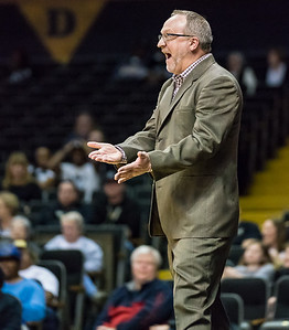 Arkansas Lady Razorbacks head coach Mike Neighbors reacts to a call during a game between the Arkansas Lady Razorbacks and the Vanderbilt Commodores on Sunday, 25 Feb 18, in Nashville TN.  (Alan Jamison, Nate Allen Sports Service)