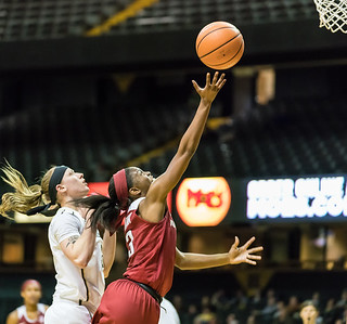 Arkansas Lady Razorbacks guard Malica Monk (3) lays up a shot during a game between the Arkansas Lady Razorbacks and the Vanderbilt Commodores on Sunday, 25 Feb 18, in Nashville TN.  (Alan Jamison, Nate Allen Sports Service)