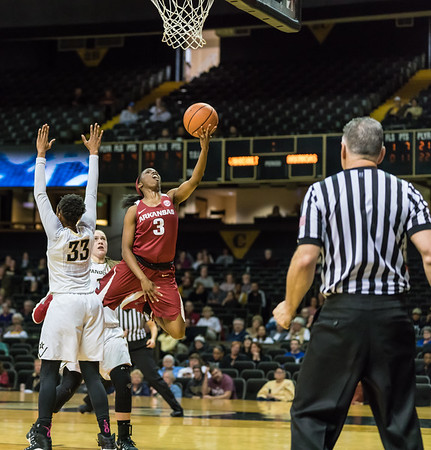 Arkansas Lady Razorbacks guard Malica Monk (3) shoots  during a game between the Arkansas Lady Razorbacks and the Vanderbilt Commodores on Sunday, 25 Feb 18, in Nashville TN.  (Alan Jamison, Nate Allen Sports Service)