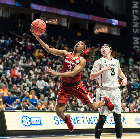 Arkansas Lady Razorbacks guard Malica Monk (3) shoots during an SEC Tournament game between the Arkansas Lady Razorbacks and the Vanderbilt Commodores on Wednesday, Feb 28, 2018, in Nashville TN.  (Alan Jamison, Nate Allen Sports Service)