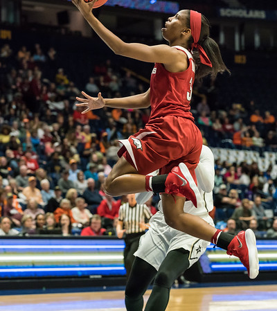 Arkansas Lady Razorbacks guard Malica Monk (3) with a layup during an SEC Tournament game between the Arkansas Lady Razorbacks and the Vanderbilt Commodores on Wednesday, Feb 28, 2018, in Nashville TN.  (Alan Jamison, Nate Allen Sports Service)