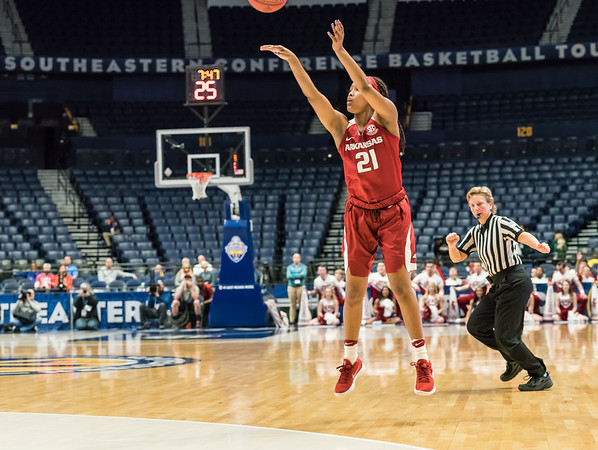 Arkansas Lady Razorbacks guard Devin Cosper (21) shoots during an SEC Tournament game between the Arkansas Lady Razorbacks and the Vanderbilt Commodores on Wednesday, Feb 28, 2018, in Nashville TN.  (Alan Jamison, Nate Allen Sports Service)