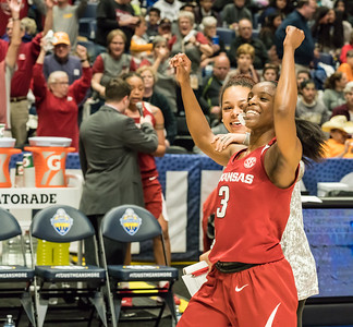 Arkansas Lady Razorbacks guard Malica Monk (3) celebrates the victory after the SEC Tournament game between the Arkansas Lady Razorbacks and the Vanderbilt Commodores on Wednesday, Feb 28, 2018, in Nashville TN.  (Alan Jamison, Nate Allen Sports Service)