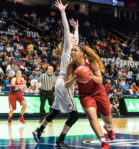 Arkansas Lady Razorbacks forward/center Kiara Williams (10) goes up for a shot during an SEC Tournament game between the Arkansas Lady Razorbacks and the Vanderbilt Commodores on Wednesday, Feb 28, 2018, in Nashville TN.  (Alan Jamison, Nate Allen Sports Service)
