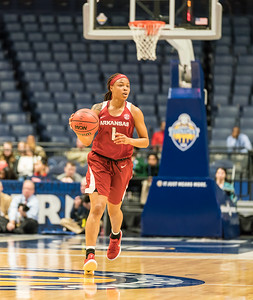Arkansas Lady Razorbacks guard Raven Northcross-Baker (1) at point during an SEC Tournament game between the Arkansas Lady Razorbacks and the Vanderbilt Commodores on Wednesday, Feb 28, 2018, in Nashville TN.  (Alan Jamison, Nate Allen Sports Service)