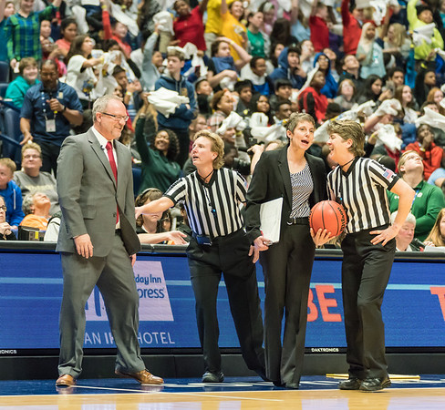 Arkansas Lady Razorbacks head coach Mike Neighbors talks to the officials during an SEC Tournament game between the Arkansas Lady Razorbacks and the Vanderbilt Commodores on Wednesday, Feb 28, 2018, in Nashville TN.  (Alan Jamison, Nate Allen Sports Service)