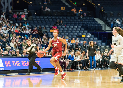 Arkansas Lady Razorbacks guard Devin Cosper (21) dribbles during an SEC Tournament game between the Arkansas Lady Razorbacks and the Vanderbilt Commodores on Wednesday, Feb 28, 2018, in Nashville TN.  (Alan Jamison, Nate Allen Sports Service)