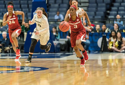 Arkansas Lady Razorbacks guard Malica Monk (3) on a fast break during an SEC Tournament game between the Arkansas Lady Razorbacks and the Vanderbilt Commodores on Wednesday, Feb 28, 2018, in Nashville TN.  (Alan Jamison, Nate Allen Sports Service)