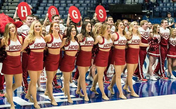The Arkansas Pom Pom squad celebrates after the SEC Tournament game between the Arkansas Lady Razorbacks and the Vanderbilt Commodores on Wednesday, Feb 28, 2018, in Nashville TN.  (Alan Jamison, Nate Allen Sports Service)