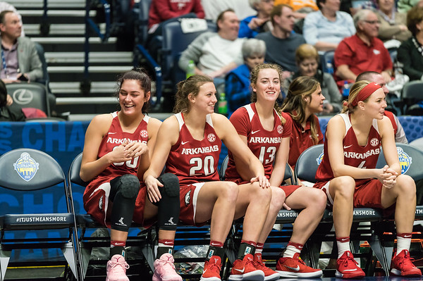 The Arkansas bench celebrates during an SEC Tournament game between the Arkansas Lady Razorbacks and the Vanderbilt Commodores on Wednesday, Feb 28, 2018, in Nashville TN.  (Alan Jamison, Nate Allen Sports Service)